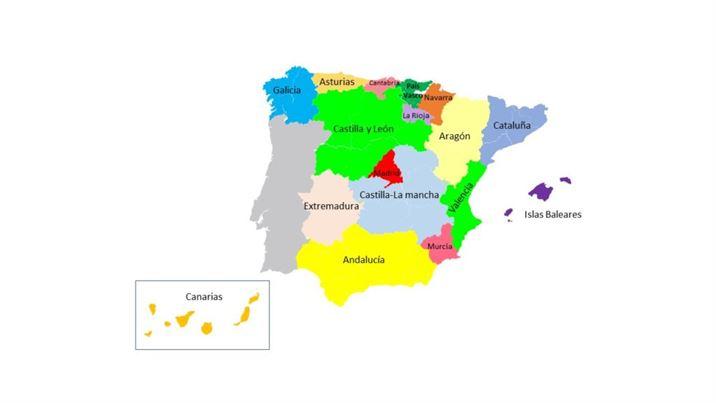Korespa spanish culture Comunidades Autónomas Map